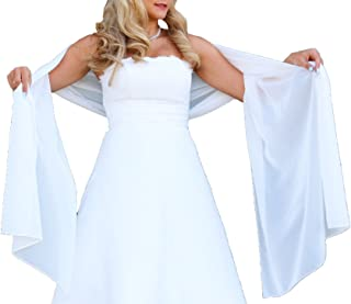 Unbekannt Schal Brautkleid Stola Umschlagtuch Chiffon weiß Ivory Jacke Braut 230x70 Bolero Braut