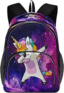 Dabbing Unicorn Space Galaxy Backpack Starry Night Bookbags College Students Daypack Three Layer Arc Laptop Backpacks with USB Charging Port School Book Bag for Teens Men Women Kids Boys Girls