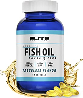 Omega 3 Fish Oil DHA & EPA Supplement with 1200mg + 480mg EPA + 240mg DHA - Wild Caught and Guaranteed to be Burpless and Tasteless - Easy to Swallow 60 Softgel Capsules