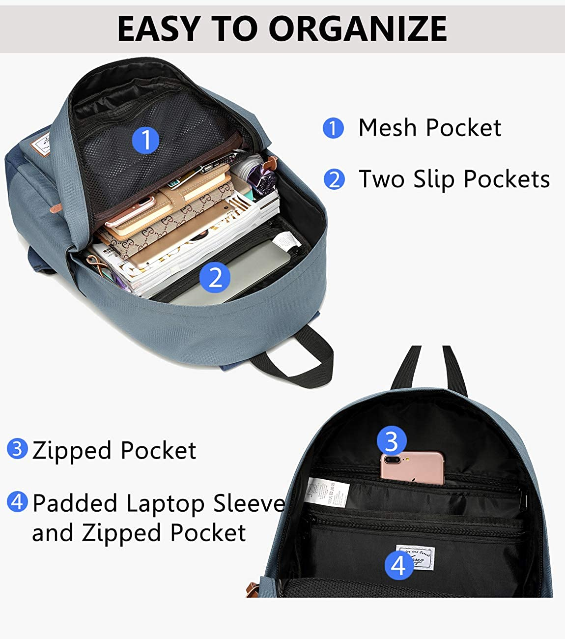 School Backpack Kasqo Water-Resistant Classic Backpack for Men Women