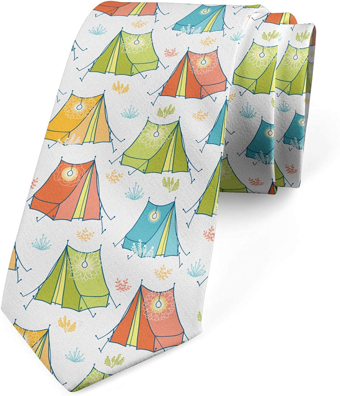 Ambesonne Men's Tie, Colorful Tents Flora Ornate, Necktie, 3.7