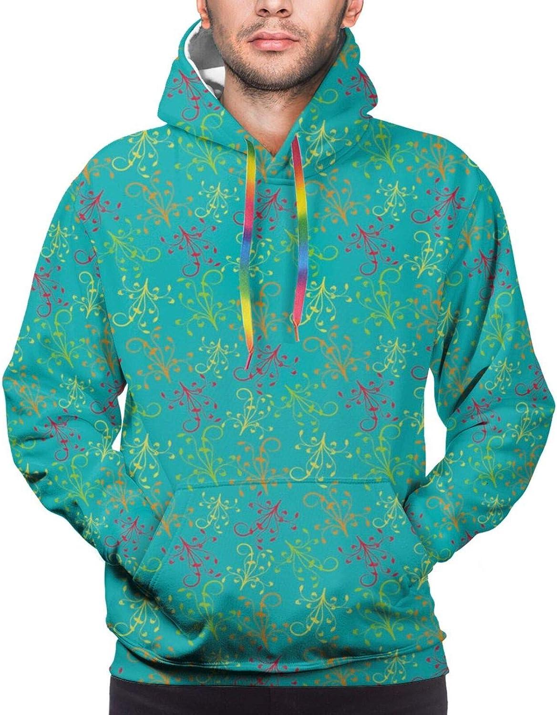 Men's Hoodies Sweatshirts,Repetitive Spring Blooming Gracious Animal Floral Print