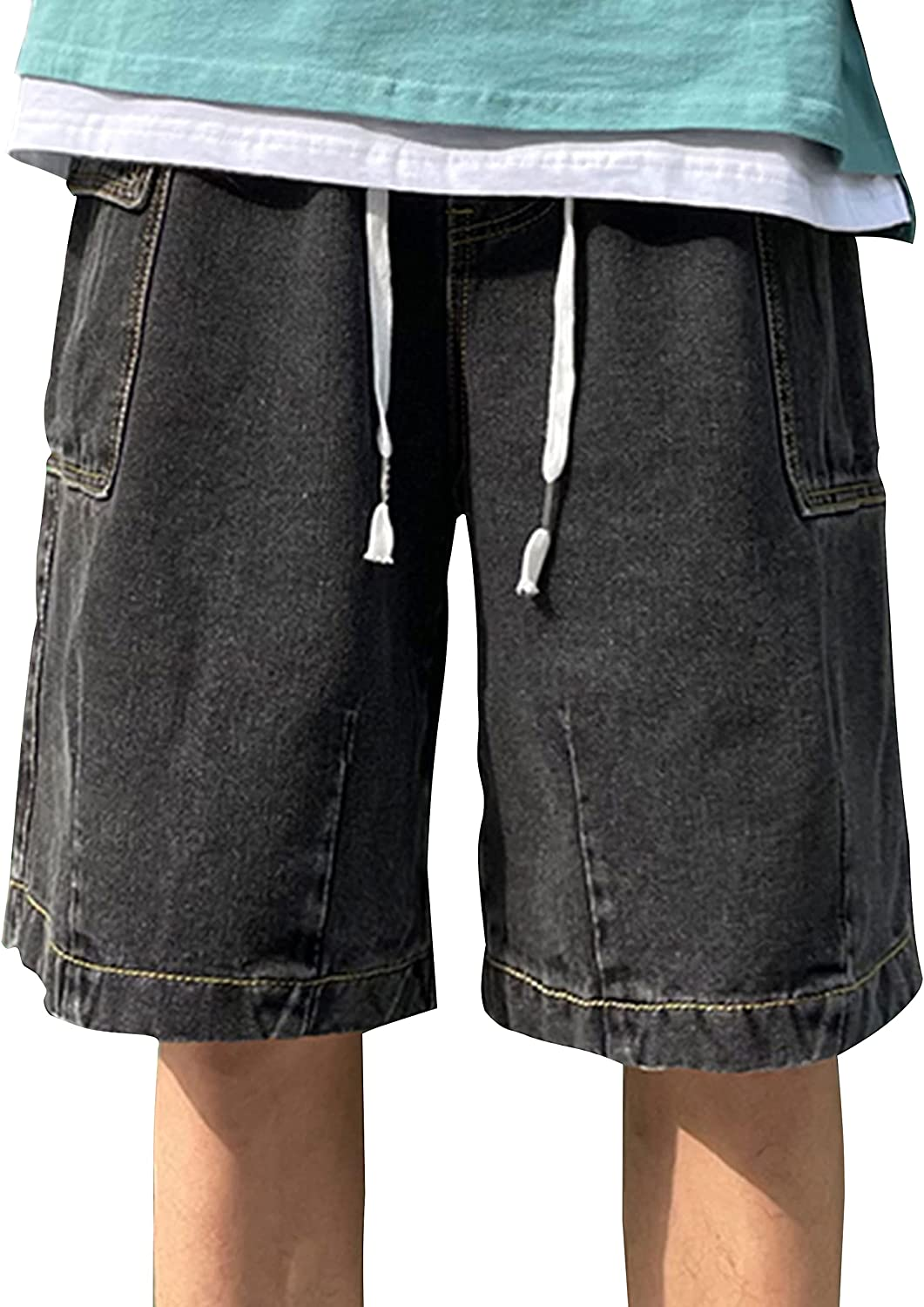 Zontroldy Men's Fashion Relaxed Cargo Denim Shorts Jean Short Pants with Pockets