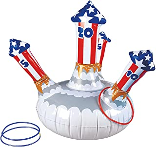 Fun Express Patriotic Inflatable Fireworks Ring Toss Game - Fourth of July Toys