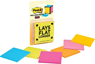 Post-it Super Sticky Full Stick Notes, 3x3 in, 6 Pads, 2x the Sticking Power, Rio de Janeiro Collection, Bright Colors (Or...