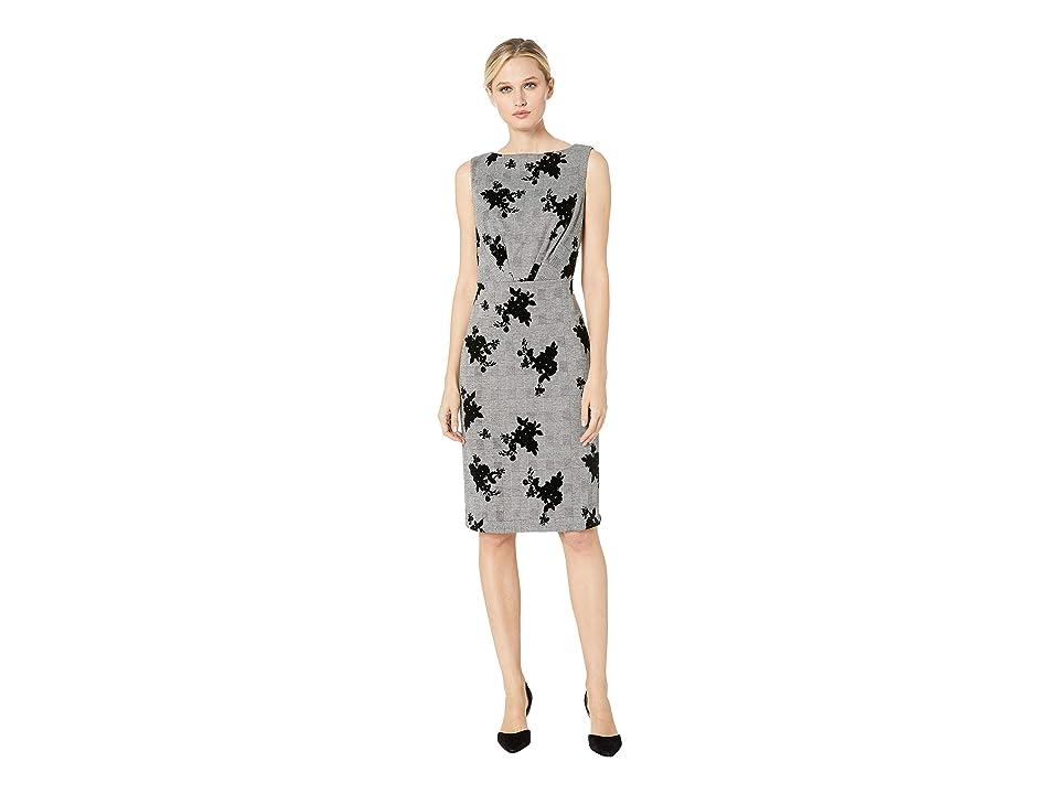 eci Sleeveless Floral Flocked Menswear Dress (Black) Women