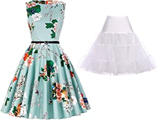 GRACE KARIN Women's Sleeveless Vintage Swing Dress with Petticoat