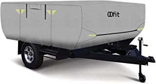 OOFIT 4 Layers Pop-up Camper Cover 12' – 14' Rip-Stop Anti-UV Folding Camper Trailer RV Cover with Adhesive Repair Patch