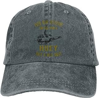 Men Women Vintage Denim Fabric Baseball Cap Huey Helicopter Veteran Plain Cap