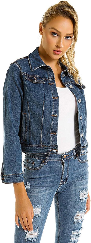 HiSunlyan Women's Distressed Denim Trucker Jacket Coat Long Sleeve Front Button-Down Sherpa Denim Wash Jean Jackets