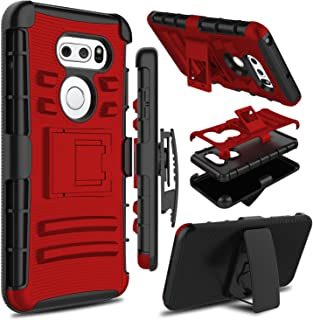 LG V35 ThinQ Case, LG V30 Case, LG V30s ThinQ Case, Zenic Heavy Duty Shockproof Full-Body Protective Hybrid Case Cover with Swivel Belt Clip and Kickstand for LG V35/LG V30 Plus (Red)