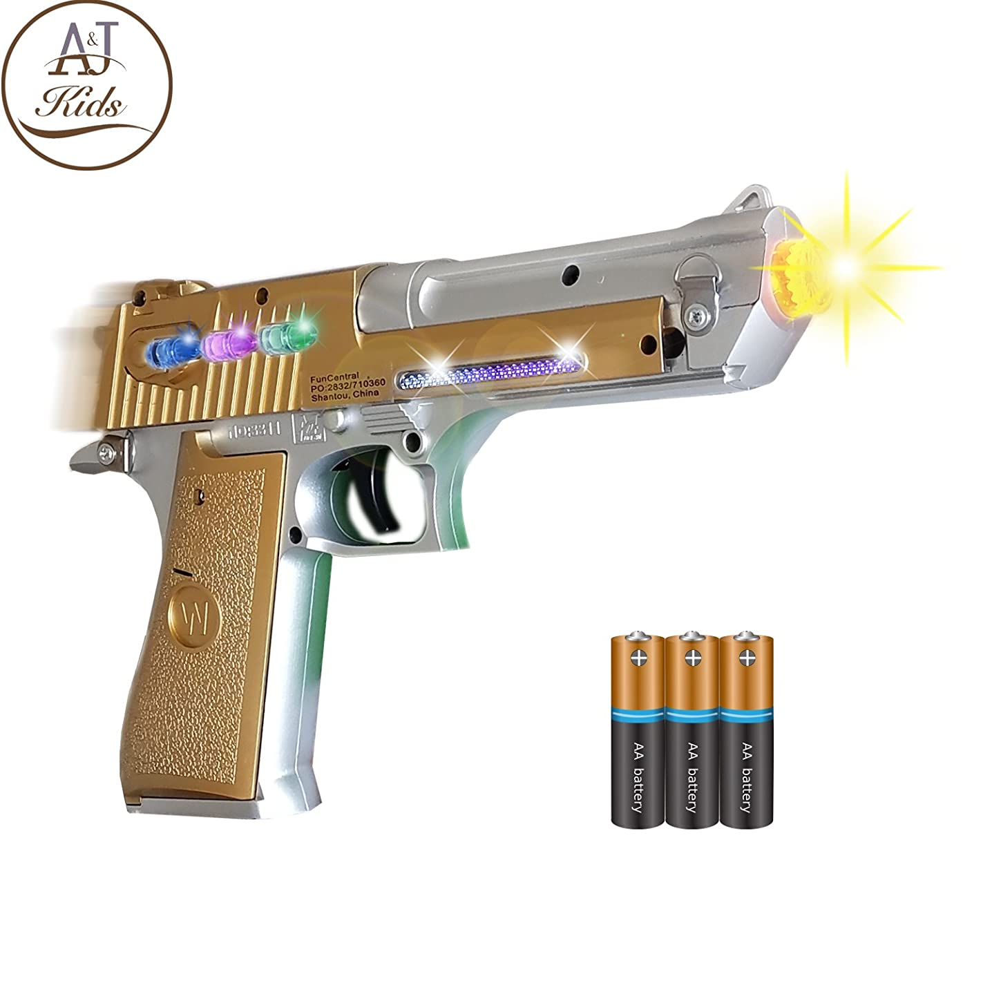 ANJ Kids Toys - Pretend Play Toy Gun for Boys | Toy Pistol Gun with Flashing Lights and Sound | Detailed Craft with Rapid Firing and Vibrating (Age 3+, Batteries Included) (Golden Pistol)