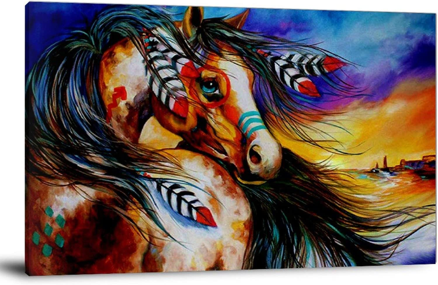 YPMY Horse Painting Native American 購買 Indian Vin Art Culture お買い得品