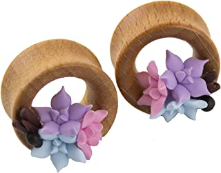 Wedding tunnels cute flower gauge earrings for bride blue pink succulent tiny floral wooden plugs taper stretcher piercing...