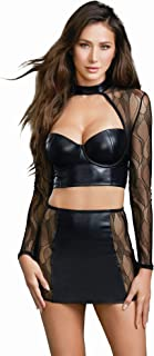 Women's Faux Leather and Lace Crop Top with High Waist Skirt Set