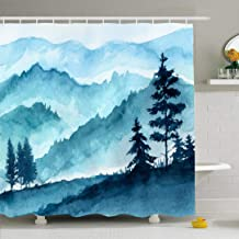 Ahawoso Shower Curtain Set with Hooks 60x72 Blue Watercolor Mountains Hand Landscape Travel View Trees Sky Drawing Silhouette Nature Textures Waterproof Polyester Fabric Bath Decor for Bathroom