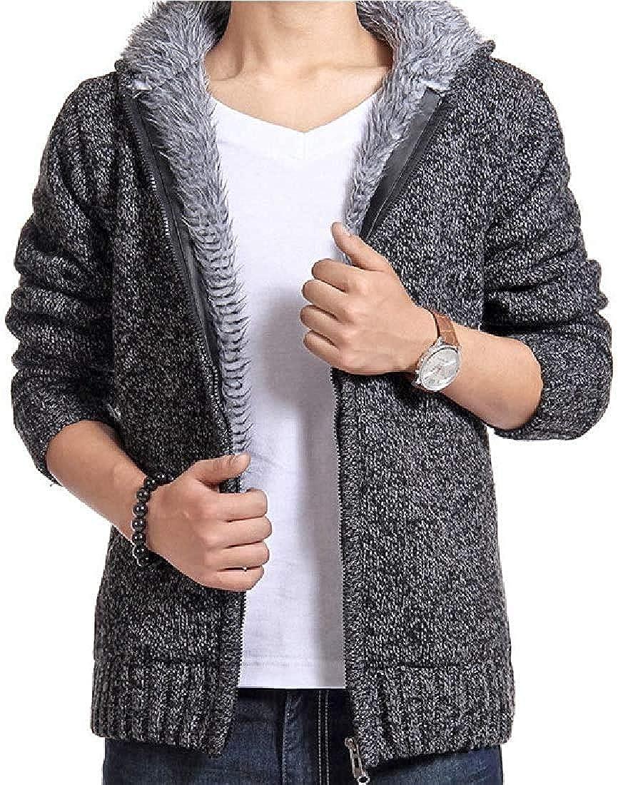 TIMOTHY BURCH Men Cardigan Sweater Fleece Lined Winter Warm Hoodie Jacket Coat Outwear