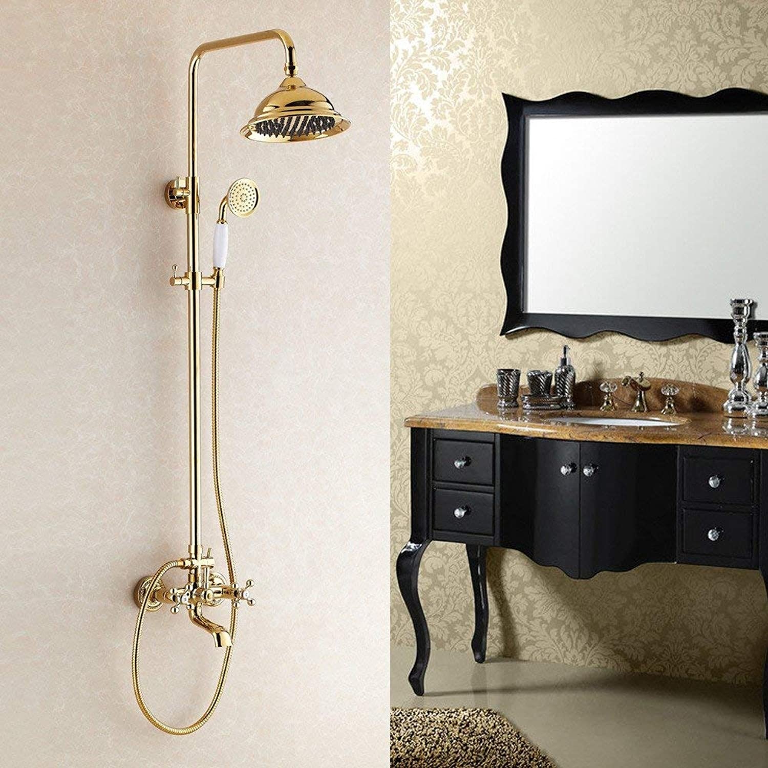 Elevator Lift Shower European Shower Respond to Double Handle Gilt with Cold of Shower Hot Water Tap Bath Bath to Hand