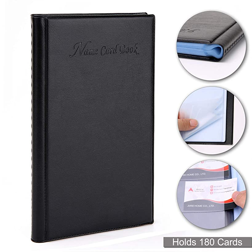 DMFLY Business Card Book Holder, Name Card Organizer, Office Business Card Holder, Professional PU Leather Journal Name Card Holder - Hold 180 Cards, Black