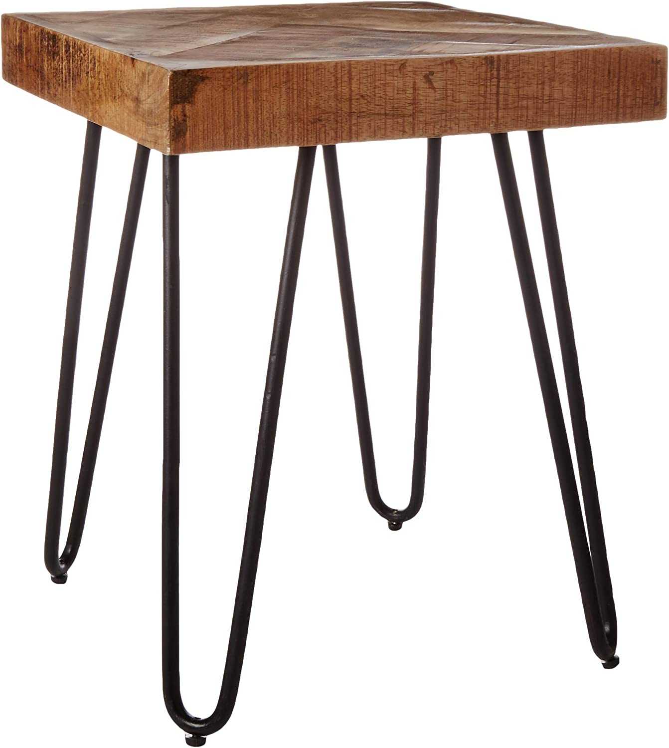 Mindful Living Solid Wood Chevron End Table (Small)