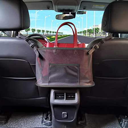 Black Car Net Pocket Handbag Holder Seat Back Organizer Mesh,Durable Car Seat Net Organizer