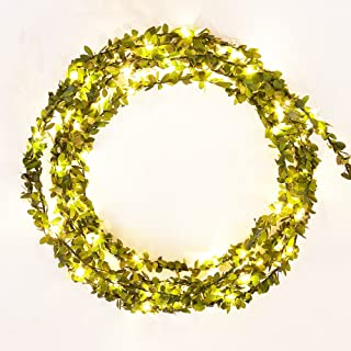Leaf Garland Battery Operate Copper Lights 50 LED / 5M for Garden Path Party With Timer