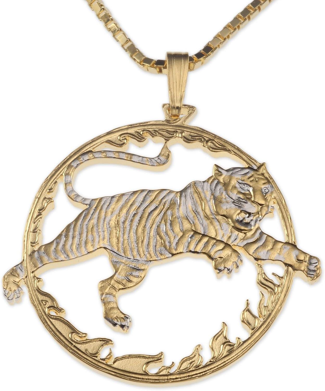 Tiger Pendant & Necklace, China 10 Yuan Coin Hand Cut
