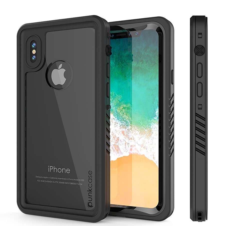 iPhone X Waterproof Case, Punkcase [Extreme Series] [Slim Fit] [IP68 Certified] [Shockproof] [Snowproof] [Dirproof] Armor Cover W/Built in Screen Protector for Apple iPhone 10 [Black]