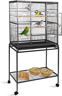 Gaintex 63'' Rolling Bird Cage with Stand & Storage Shelf Large Wrought Iron Cage for Cockatiel Conure Parakeet Lovebird Canary Finch Budgie Pet House 4 Feeding Doors and Cups