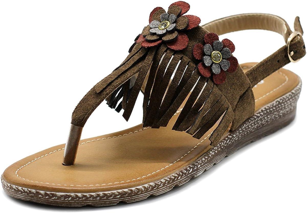 Ollio Women's Shoe Fringe Floral Zori T-strap Sandal Outlet SALE Flat Great interest
