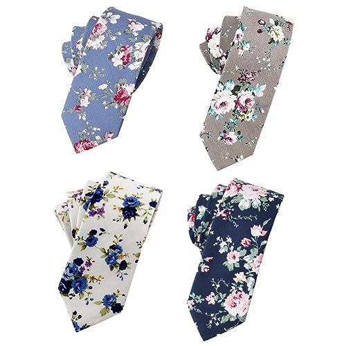 2a9fe1b25d8a Flower Ties for Men,Mens Ties,Skinny Tie,Floral Printed Cotton Neck Tie