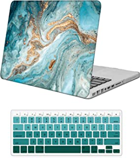 Holilife Protective Plastic Hard Case and Keyboard Cover, Only Compatible with Old Version MacBook Pro 13 inch Model A1278 with CD-ROM (Release 2012/2011/2010/2009/2008) - Green Marble