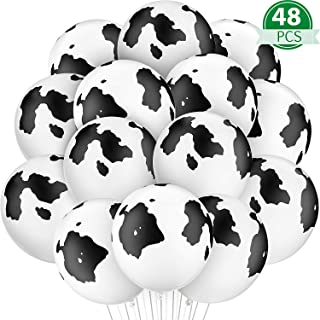 Gejoy 48 Pieces Cow Balloons Latex Balloons Funny Print Cow Balloons for Birthday Party Supplies Decorations (Color D)