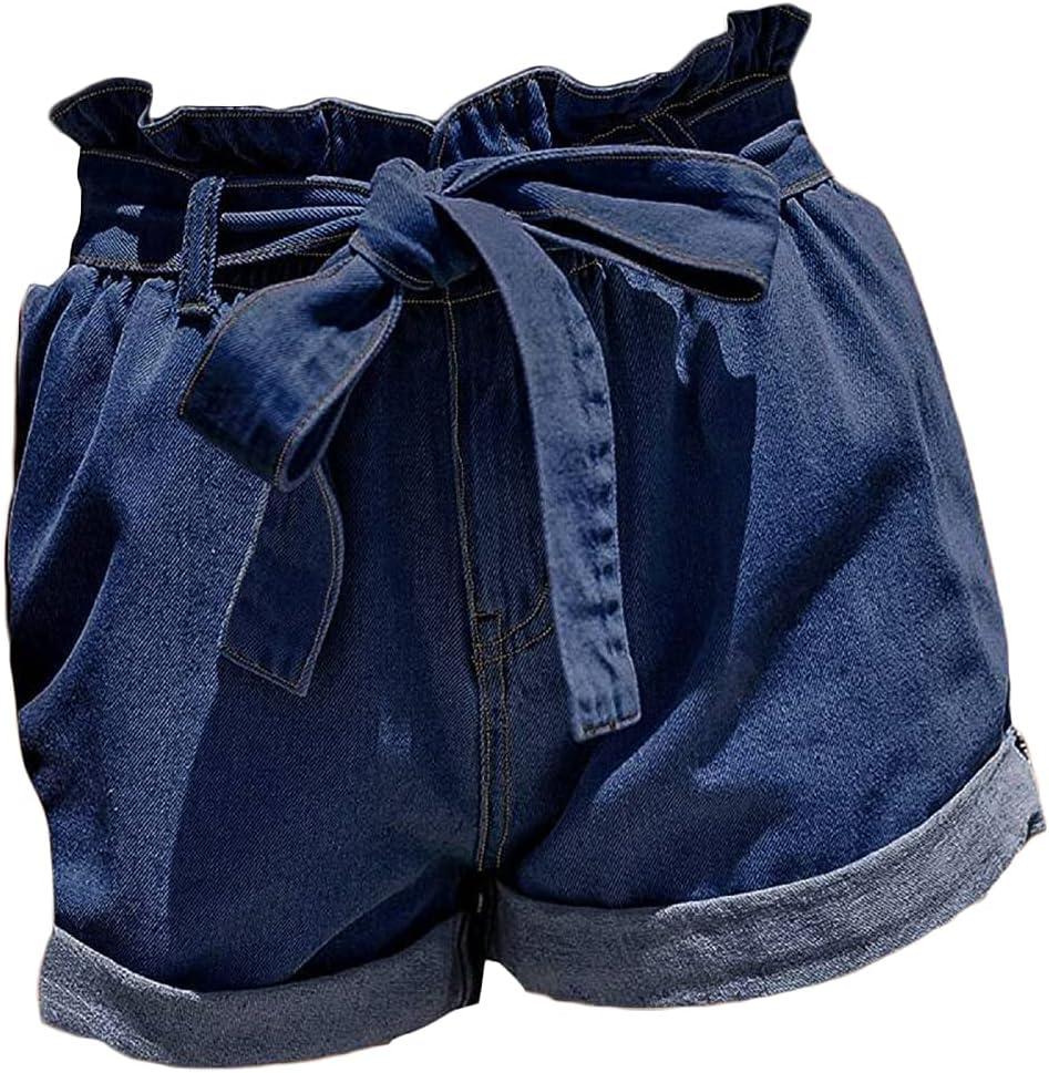 Women's Ripped Elastic Waist Bowknot Shorts High Waisted Rolled Distressed Denim Shorts Wide Leg Jean Short with Belt (Dark Blue 2,Medium)