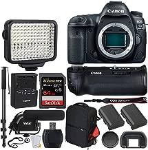Canon EOS 5D Mark IV DSLR Camera (Body) + Canon Battery Grip BG-E20 + 64GB Extreme Pro Memory Card + Canon Battery Pack LP-E6N + Vivitar Trolley Backpack + LED Video Light + Microphone – Video Bundle