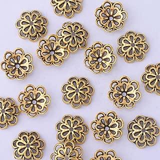 50pcs 12mm Hollow Out Flower Vintage Beads Cap,Filigree Beads Cap,end Cap,Flower Spacer Metal Beads,Antique Gold
