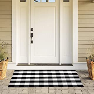 100% Cotton Plaid Rug, KIMODE Black/White Hand-Woven Buffalo Checkered Floor Mats 35.4'' x 59'', Washable Carpet for Porch Doormat Kitchen Rugs