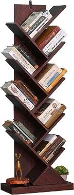 Tree Bookshelf, 9-Tier Rustic Tree Bookcase, Narrow Bookshelf for Small Space, Sturdy Anti-Fall Book Shelf Organizer for Home