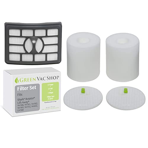 GreenVacShop 2+1 Pack Shark Rotator Professional Lift-Away NV500, NV501, NV502, NV503, NV505, NV510, NV520, NV552, UV560 Replacement Filter Set, 2 Foam+2 Felt+1 HEPA Filters, XFF500 XHF500