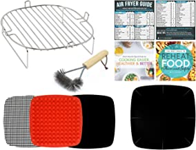 Air Fryer Accessories Kit Compatible With Dash 10 Liter, Emeril Lagasse 6 QT, Enklov XL 5.5 QT, NuWave Brio 3 QT AND 4.5 Quart, Philips XL, Secura + More | Silicone Liner, Grill Brush, Cookbooks