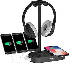 پایه هدفون QI با شارژر USB COZOO Gaming Holder Hanger با 3 پورت ایستگاه شارژر USB و شارژر بی سیم - مناسب برای بازی، DJ، صفحه نمایش گوشی های بی سیم (سیاه و سفید)