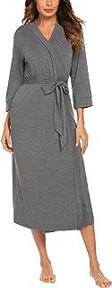 MAXMODA Women Kimono Robes Cotton Lightweight Long Robe Knit Bathrobe Soft  Sleepwear V-Neck Ladies b0acfdf3f