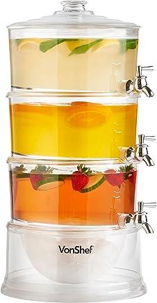 VonShef, distributore di bevande a 3 piani con capacità 10,5 litri, rubinetti e contenitore per il ghiaccio.