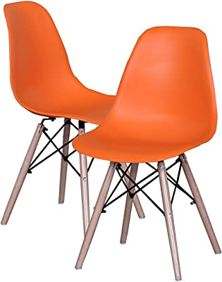 Modern Set of 2 EAMES Style Chair Natural Wood Legs (Orange)