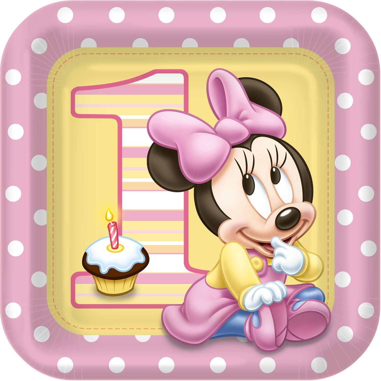 Hallmark Minnie's 1st Birthday Dinner Plates (8 count)