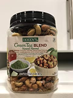 Hoody's mixed nuts Green tea blend 2 lb , Match seasoned cashews , almonds , and apple dices . Natural flavored