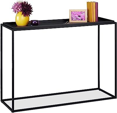 Relaxdays Table Console, H x L x P 80 x 110 x 38 cm, Meuble d'appoint Couloir, Salon, métal & MDF, étroit, Moderne, Noir, métal, MDF, 1 élément