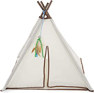 SmartyKat, Kitty Camp TeePee, Interactive Cat Toy, Crinkle Tent, Cat Bed and Hideout, With Dangling Feather Toy