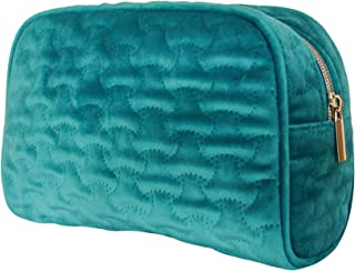Sponsored Ad - NoraKatarina Velvet Quilted Makeup Bag - Turquoise Aqua Teal Cosmetic Bag Organizer with Sturdy Stitching a...