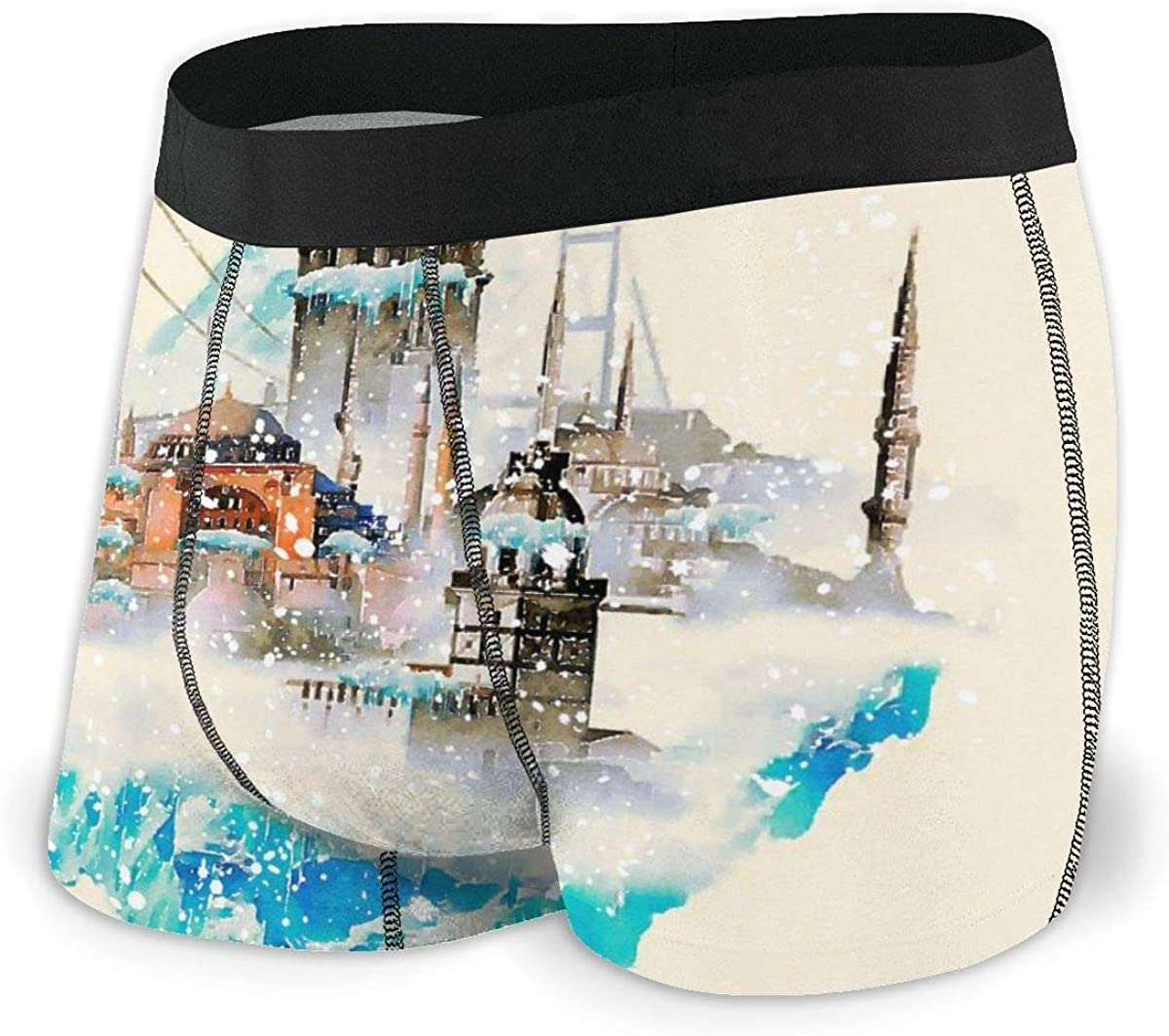 Randolph Wordsworth Mens Boxer Briefs Water Color Istanbul Winter Scene Breathable Underwear